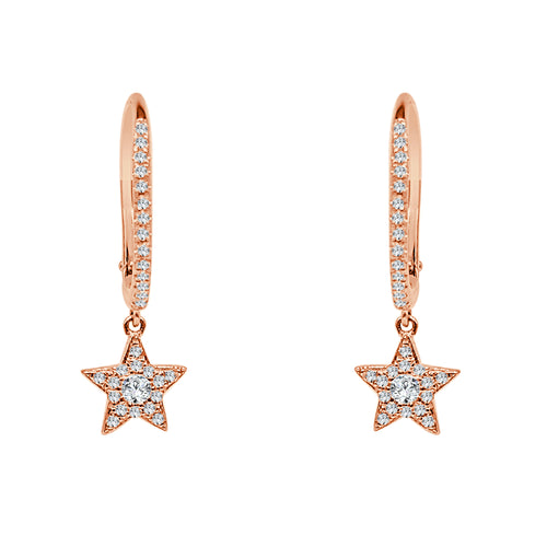 Shy Creations Diamond Star Dangle Earrings In Rose Gold