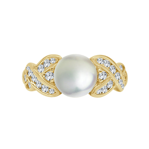 Cultured Pearl Ring With Diamond Twist Band