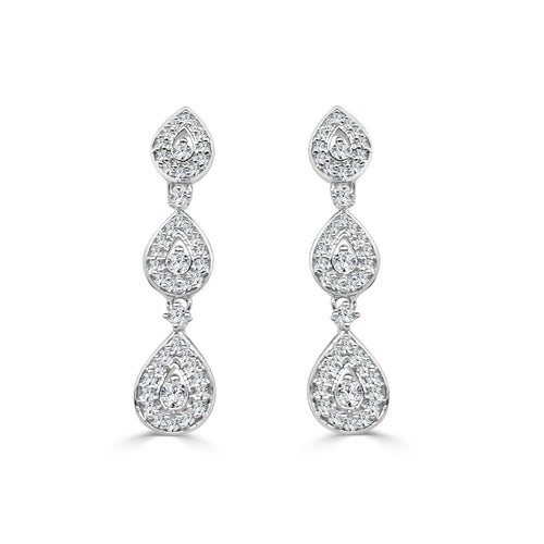 Fancy Pear Shaped Diamond Drop Earrings