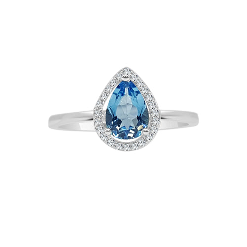 Pear Shaped Blue Topaz With Diamond Halo Ring