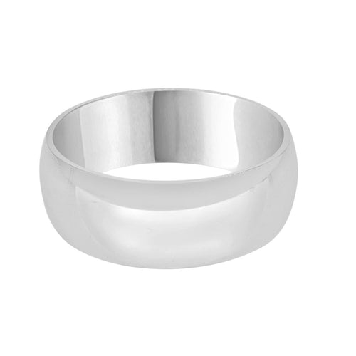 Comfort Fit White Gold 8mm Band