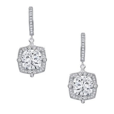 Lafonn Fancy Cushion Halo Drop Earrings