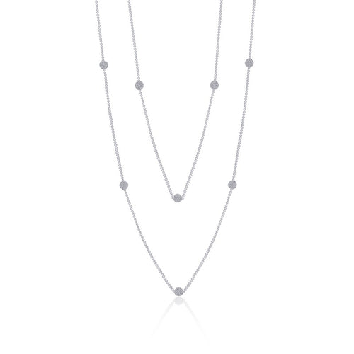 Lafonn Long Multi Station Pave Dot Necklace