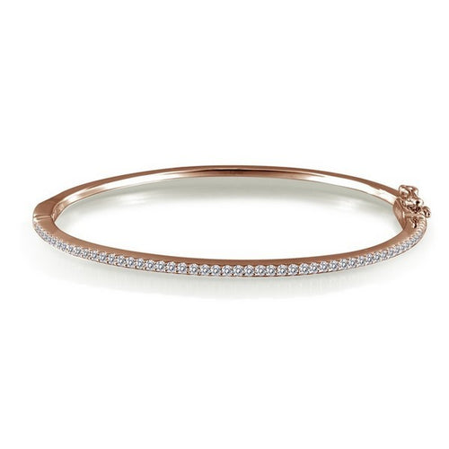 Lafonn Rose Tone Hinge Bangle Bracelet