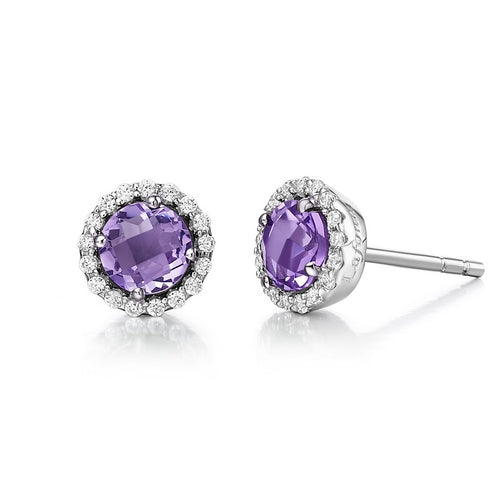 Lafonn Amethyst Halo Stud Earrings