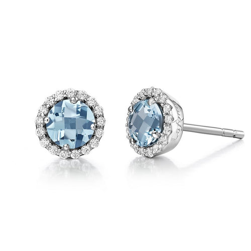 Lafonn Light Blue Halo Earrings