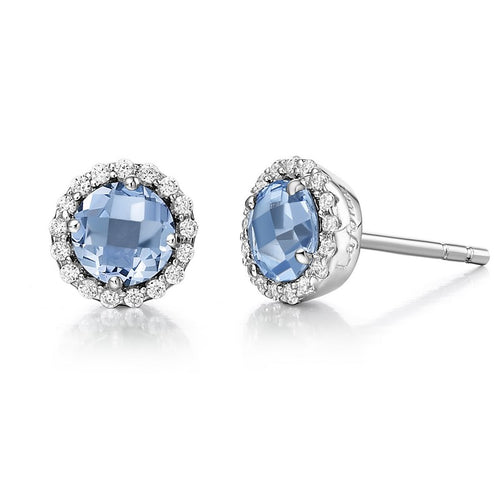Lafonn Round Blue Topaz Halo Stud Earrings