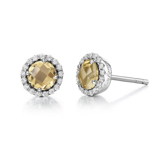 Lafonn Round Citrine Halo Stud Earrings