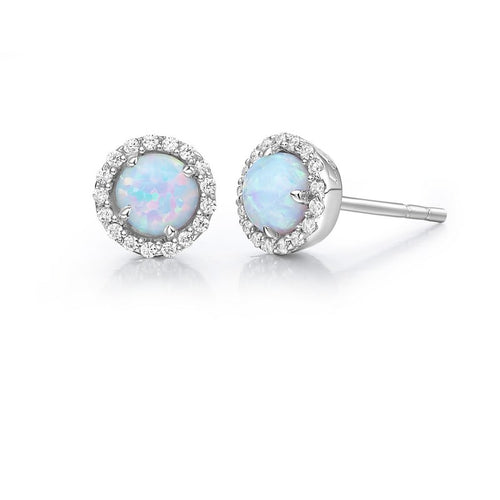 Lafonn Lg Opal Halo Stud Earrings