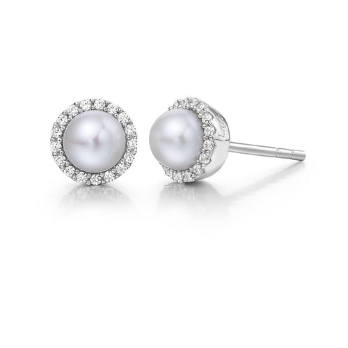Lafonn Freshwater Pearl Halo Stud Earrings