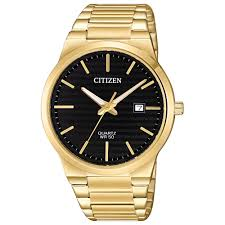 Gold Tone Citizen W/black Dial And Date