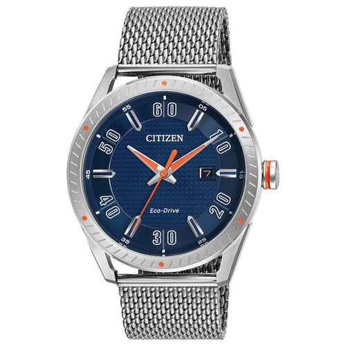 Citizen Mens Ecodrive With Blue Dial And Orange Accents