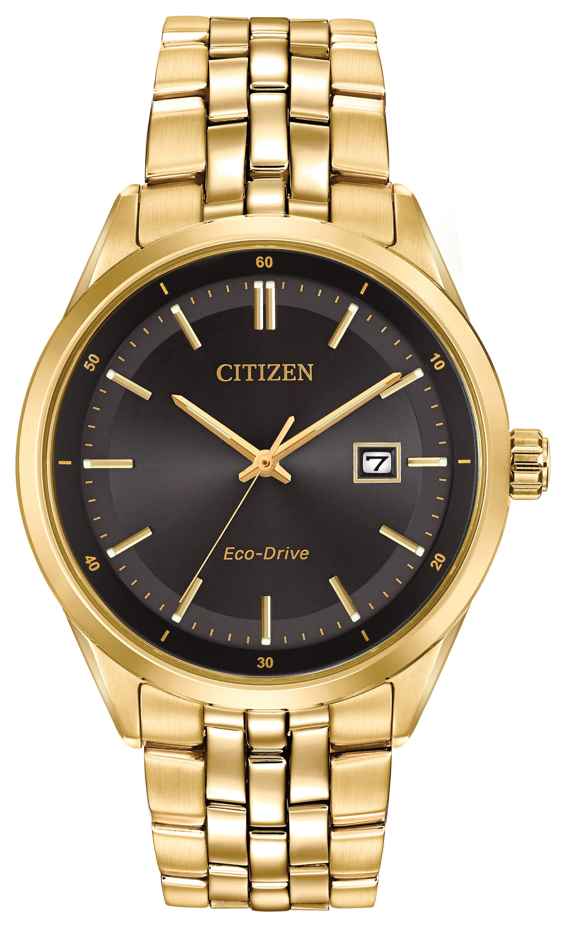 Citizen Mens Ecodrive Dress Watch In Gold Tone With Black Face
