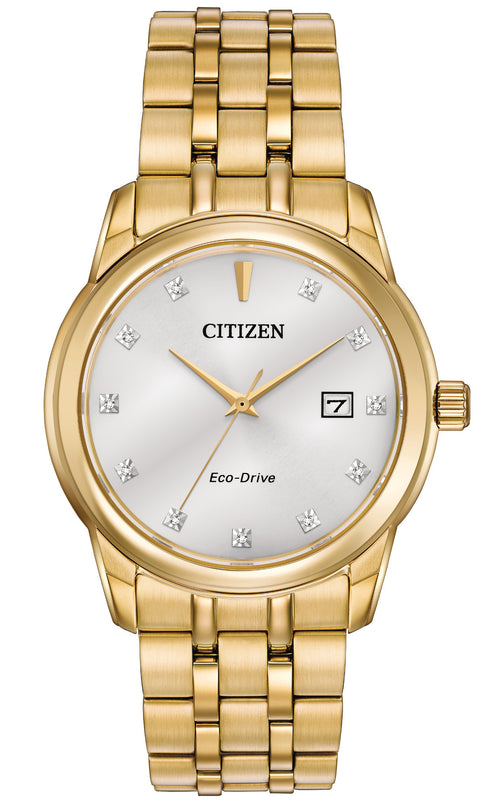 Citizen Mens Gold-tone Watch With White Dial And Date