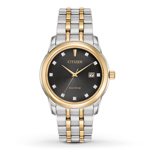 Citizen Mens Ecodrive Two-tone Date With Black Dial