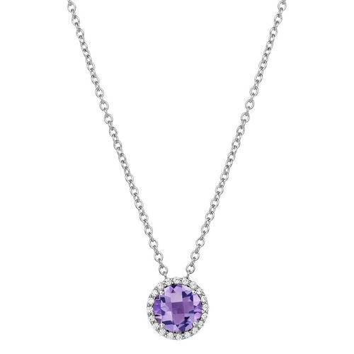 Lafonn Amethyst And Simulated Diamond Petite Halo Necklace