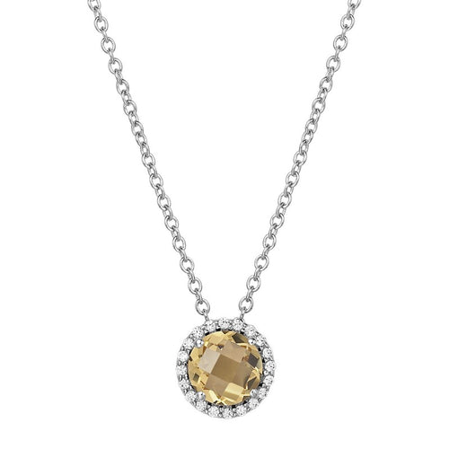 Lafonn Citrine Halo Necklace