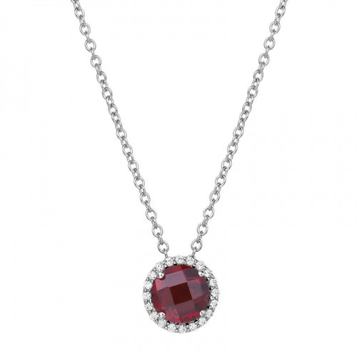 Lafonn Garnet Pendant With Simulated Diamond Halo