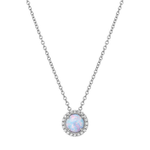 Lafonn Lab Created Opal Halo Necklace