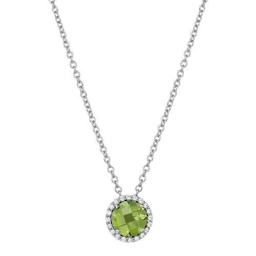 Lafonn Peridot And Simulated Diamond Petite Halo Necklace