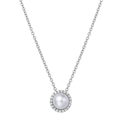 Lafonn Freshwater Pearl Halo Necklace