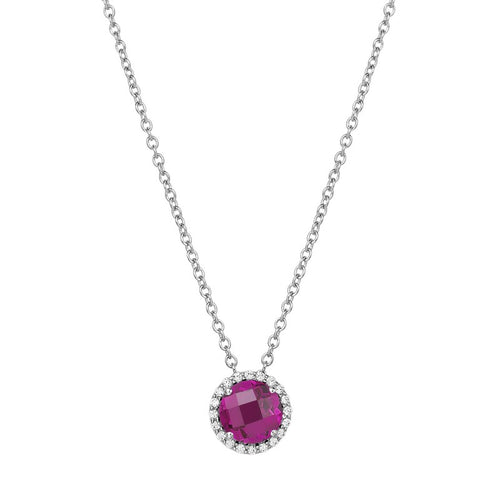 Lafonn Red Stone With Simulated Diamond Halo Necklace