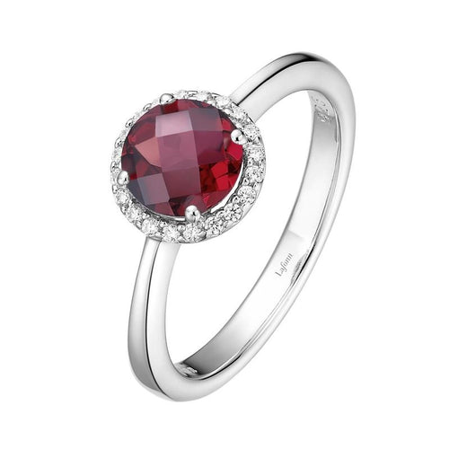 Lafonn Garnet Ring With Simulated Diamond Halo