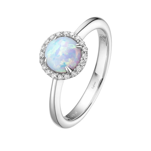 Lafonn Lab Grown Opal Halo Ring