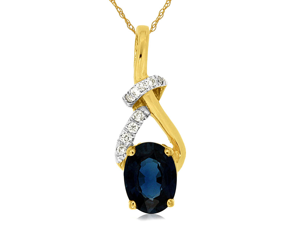 Sapphire And Diamond Fancy Twist Necklace