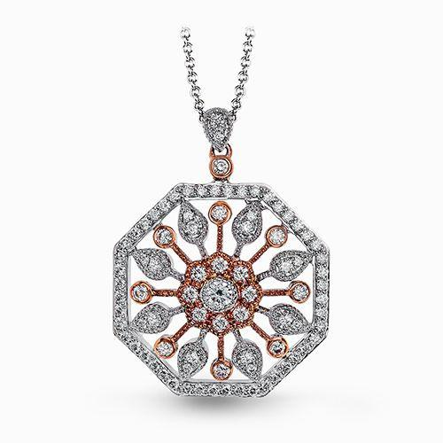 Simon G. Rose And White Gold Vintage Diamond Pendent
