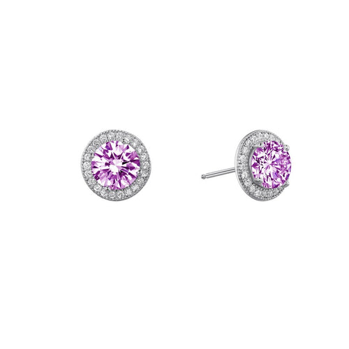 Lafonn Pink Stone Halo Stud Earrings