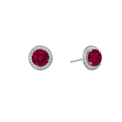 Lafonn Red Stone Halo Stud Earrings