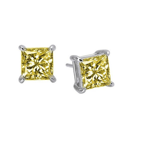 Lafonn Yellow Stone Princess Cut Stud Earrings