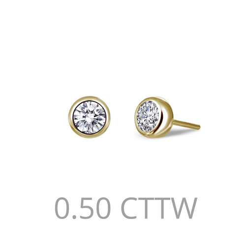 Lafonn Gold Plated 050 Carat Bezel Stud Earrings