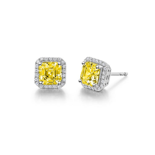 Lafonn Fancy Yellow Asscher Halo Stud Earrings