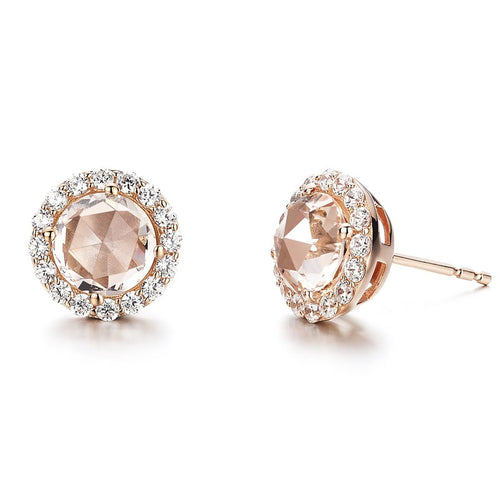 Lafonn Simulated Morganite Halo Stud Earrings