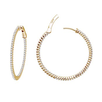 Lafonn 177 Carat Gold Tone Inside Out Hoop Earrings