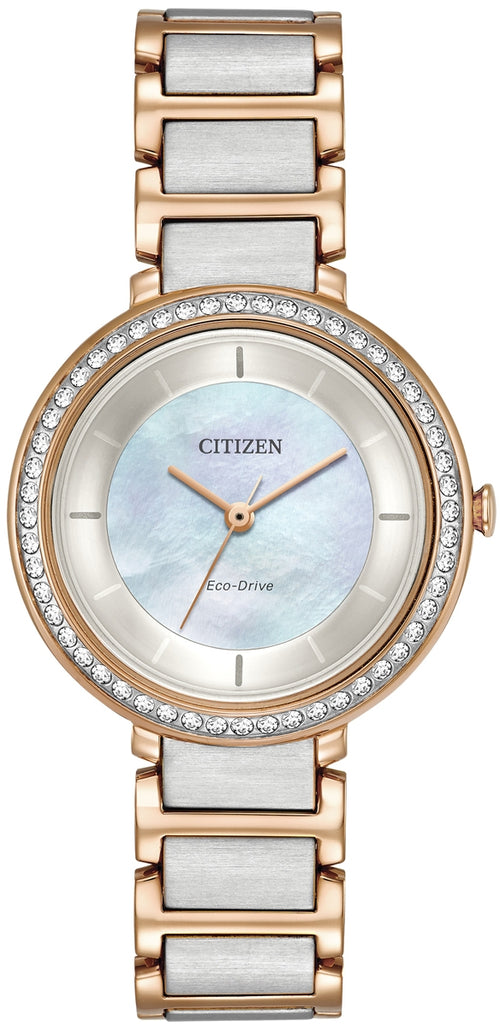 Citizen Ladies Ecodrive Mother Of Pearl Dial And Crystal Bezel