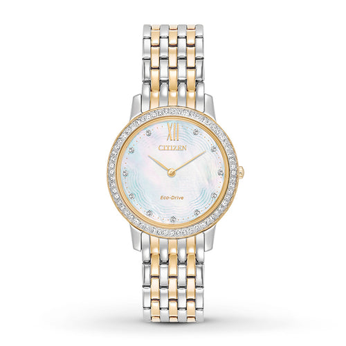 Citizen Ladies Two-tone Watch With Mother Of Pearl Dial