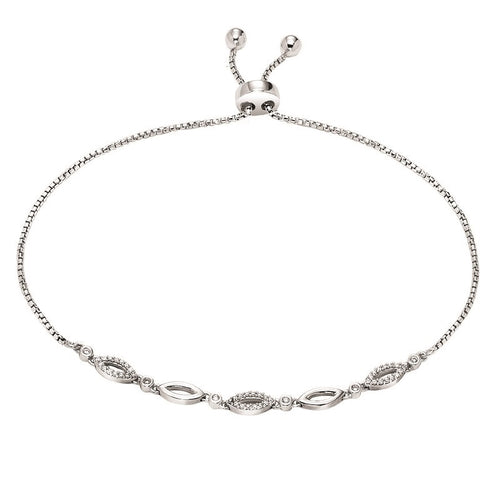 Sterling Silver Fancy Diamond Oval Link Bolo Bracelet
