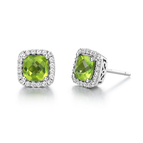 Lafonn Peridot Halo Stud Earrings