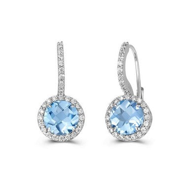 Lafonn Blue Topaz Halo Earrings