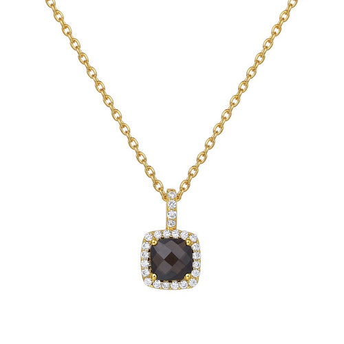Lafonn Smokey Topaz Cushion Halo Necklace