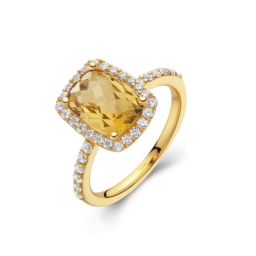 Lafonn Checkerboard Cut Citrine Halo Ring