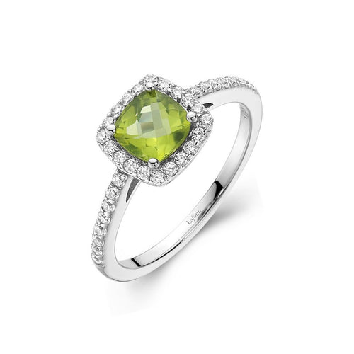 Lafonn Peridot Cushion Halo Ring