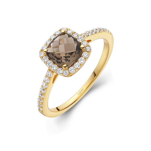 Lafonn Smokey Topaz Cushion Halo Ring
