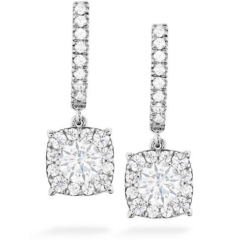 Hearts On Fire Custom Halo Drop Diamond Earrings