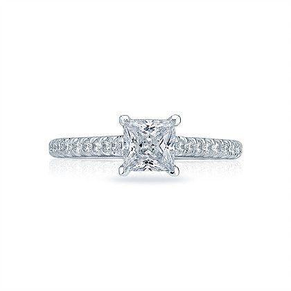 Tacori Princess Engagement Ring With Pave Shank