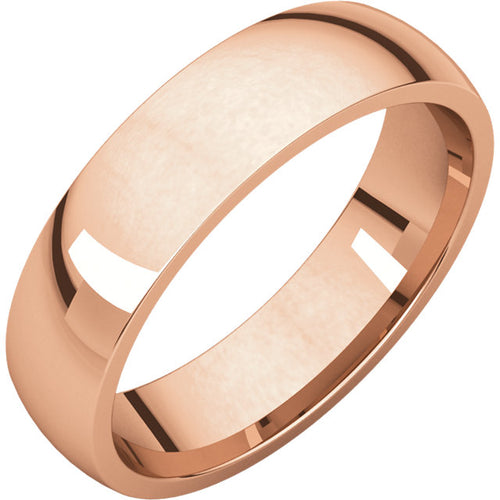 Rose Gold 6mm Comfort Fit Ring