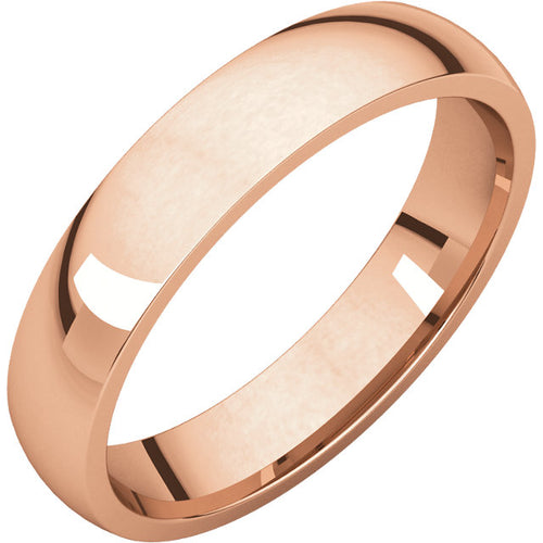 Simple 4mm Rose Gold Comfort Fit Ring